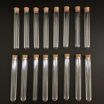 50pcs 12x100mm Clear Plastic test tubes with corks Plastic laboratory test round tube plug lab Transparent plastic tubes vial 18x105mm 50pcs multipurpose plastic glass test tubes with cork stopper lab equipments school supplies