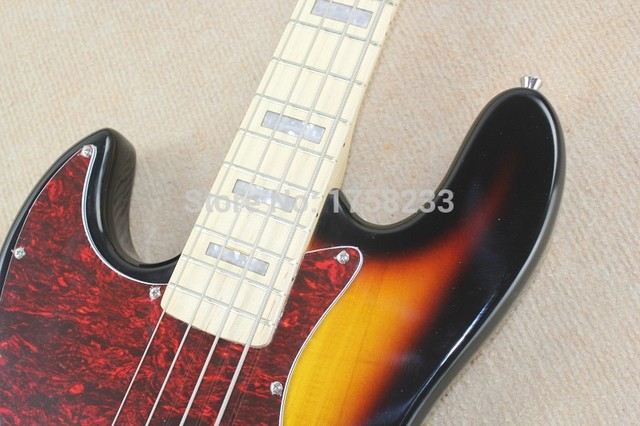 . Free shipping New banjo left-handed electric bass guitar JAZZ BASS sunset color electric guitar 3