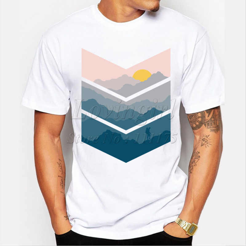 Newest 2019 men's fashion short sleeve mountain printed t-shirt Harajuku funny tee shirts Hipster O-neck cool tops