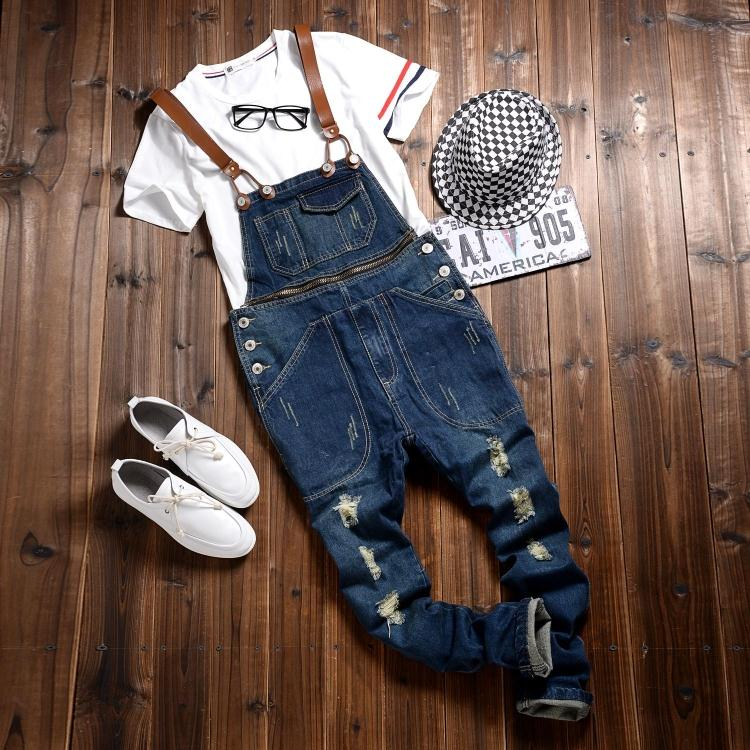2015 New Mens Suspenders Jeans Fashion Distrressed Casual extended Denim Hole Pants Men Overalls bib Detachable Trousers MB391 new mens skinny jean overalls blue suspenders multi pocket bib pants holes denim trousers size m 2xl