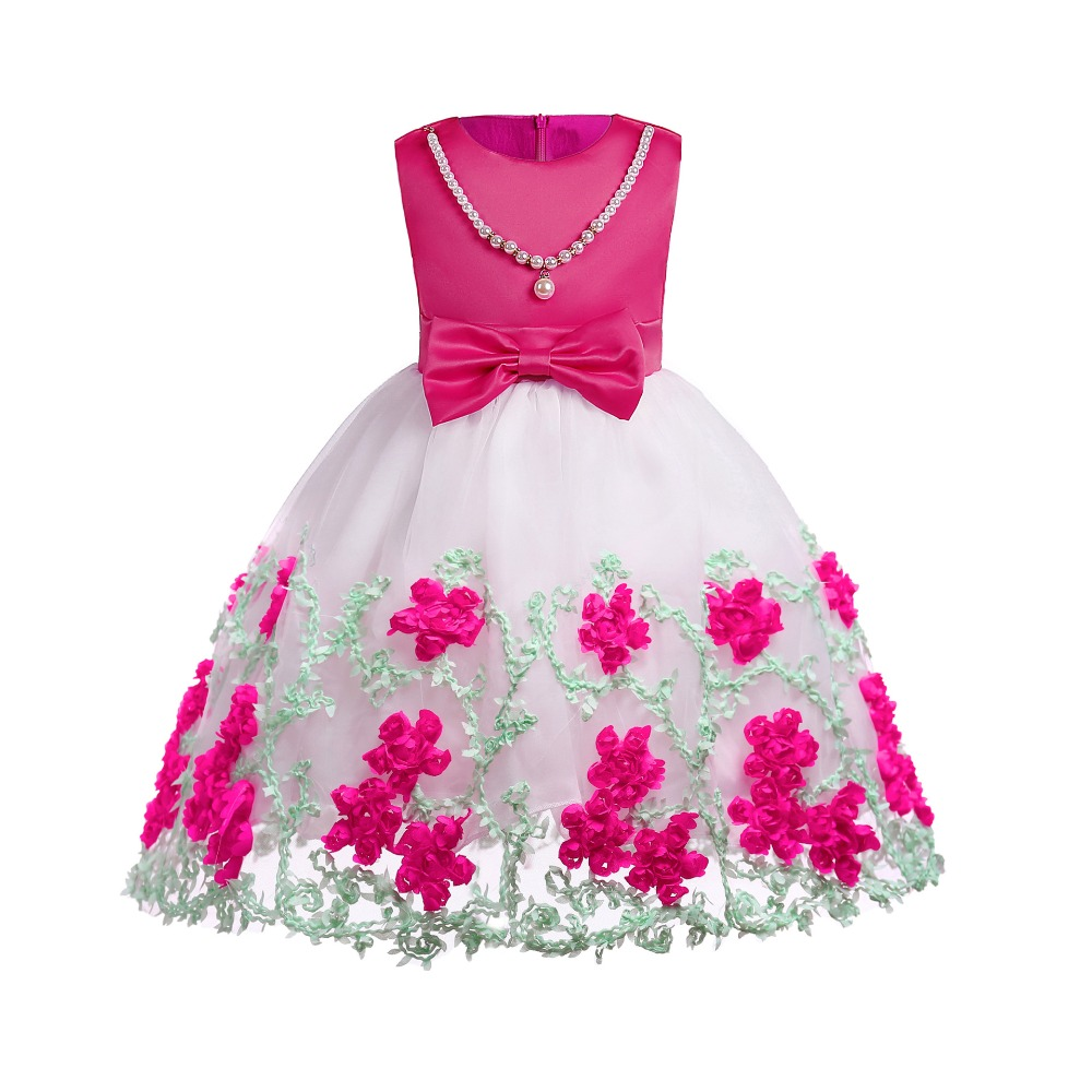 Cute Flower Princess Party Prom Dress Bow Tie Baby Birthday Dress Girl's Tulle Dress Embroidered Pearl Rose Sleeveless Dress