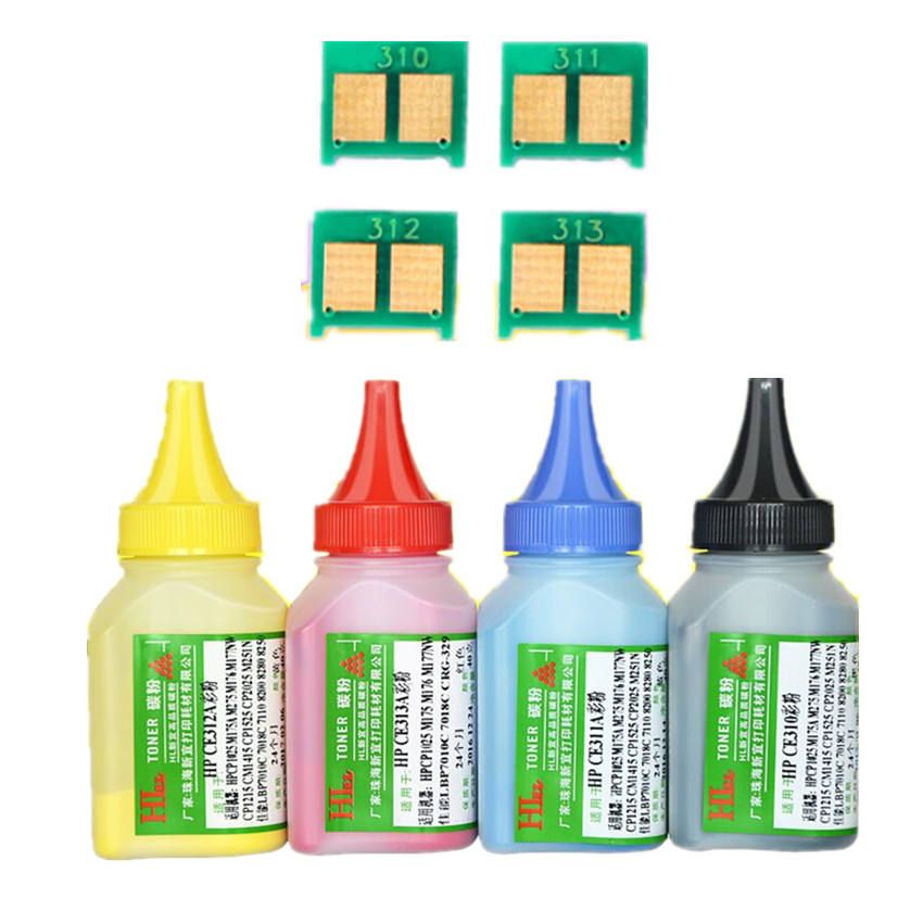 4pcs CE310A - CE313A 310a Color Toner Powder and 4 pcs chip  For HP Laserjet Pro CP1025 CP1025NW MFP M175A M275 M275NW CP1026nw toner chip for hp ce285a chip laserjet p1102 1102w chip color bk yield 1 6k free shipping