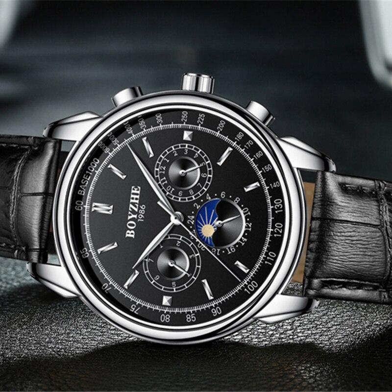 BOYZHE mężczyźni zegarek wodoodporny Top marka zegarki mechaniczne skórzany pasek mody zegarek fazy księżyca wyposażone są w Business Watch człowiek w Zegarki mechaniczne od Zegarki na  Grupa 3
