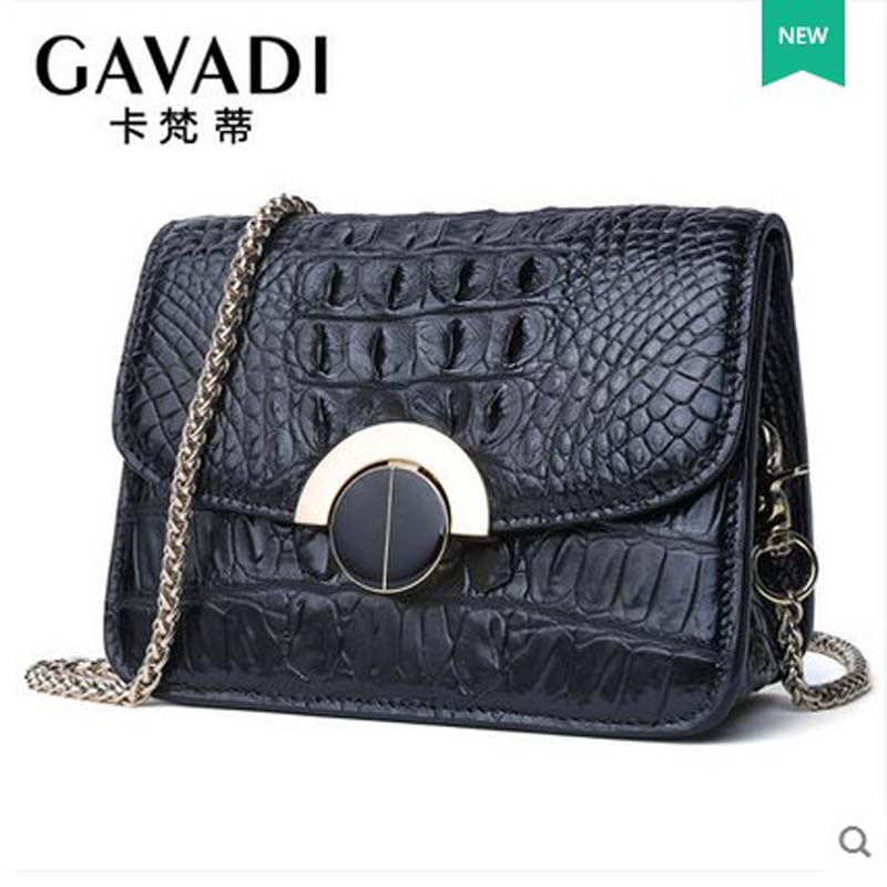 kafandi new style one-shoulder bag lady's luxury alligator skin women handbag fashion chain lock crocodile leather women bag