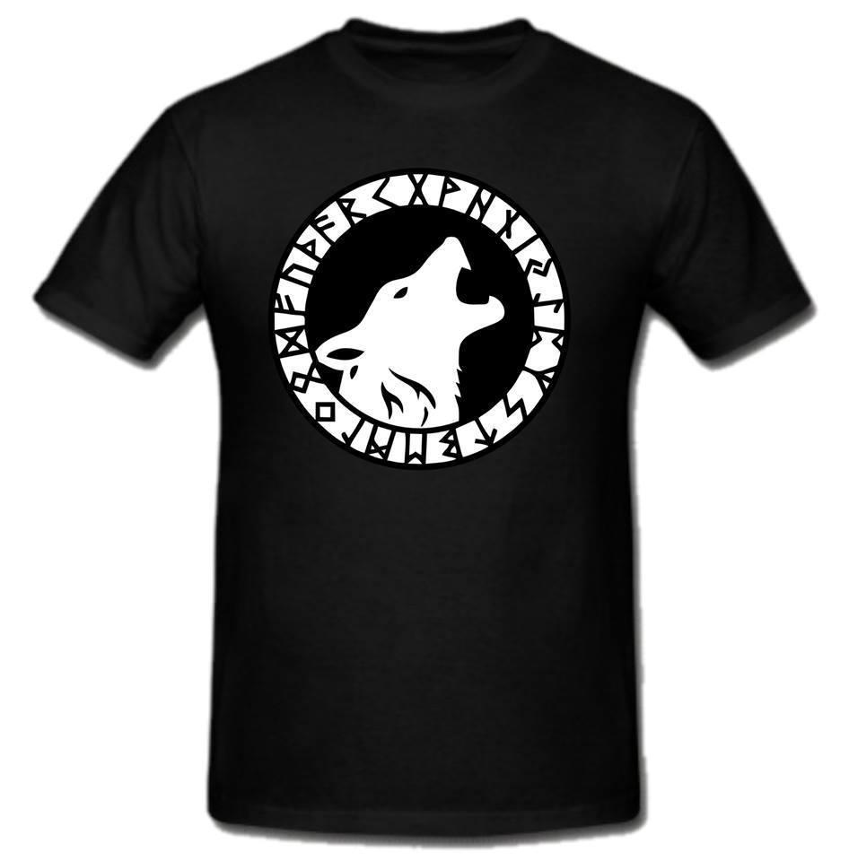 Viking Wolf Tänder Fur Skriven Script Thor Odin T-shirt T-shirt - Herrkläder - Foto 1