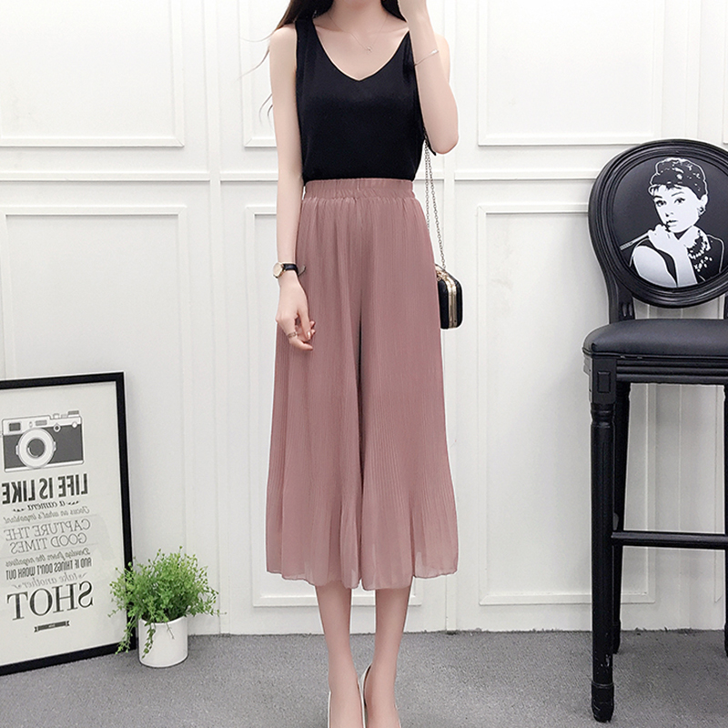 DSQUAENHD Solid Pleated Wide Leg Loose Female   Pant     Capris   Summer High Waist Chiffon Students Korean Fashion Casual Women   Pants