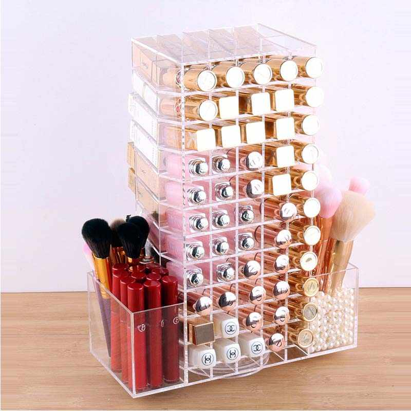 HUNYOO Grote Capaciteit 360 Graden Roterende Makeup box Parel Make Borstel Opslag Vat mac Lipstick Opslag Display Props