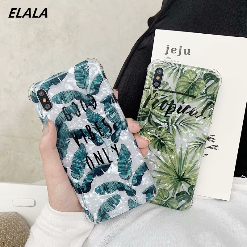 Anti-fall Glossy Marble Case For iphone X 7 Banana leaf Pattern Glitter Silicone Cover iPhone 8 6 Plus XR XS Max