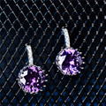 2017 New Coming CZ Zircon Amethyst White crystal Silver plated stud earrings Brand For Women Wedding Jewelry Earring