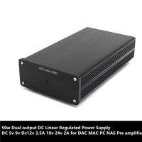 50 w Dupla saída DC fonte de Alimentação Linear Regulada DC 5 v 9 v Dc12v 3.5A 19 v 24 v 2A para MAC PC NAS tubo Pré amplificador DAC