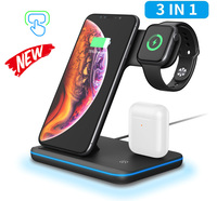 Universal 15W Qi Wireless Charger For Iphone X 8 Xiaomi Fast Charge 3.0 For Apple Airpods Watch 4 3 2 1 Smart Touch Light Holder