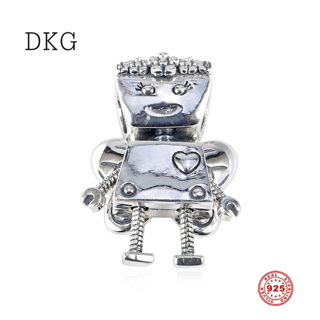 2019 Spring New 925 Sterling Silver Robot with Butterfly Wings Charms Beads Fit Original DKG Bracelet for Women DIY Jewelry