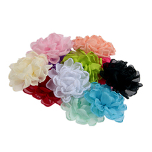 100pcslot 28 Burning Chiffon Fabric Flowers For Baby Girls Headband Hair Clips Diy Infant Toddler Headwear Hair accessories