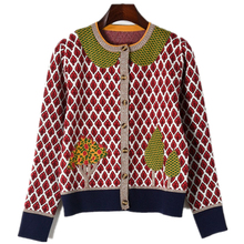 2018 Runway Cardigans Autumn Sweater for Women Luxury Designer Jacket Long Sleeve Leaves Trees Knitted Pattern Tops Female