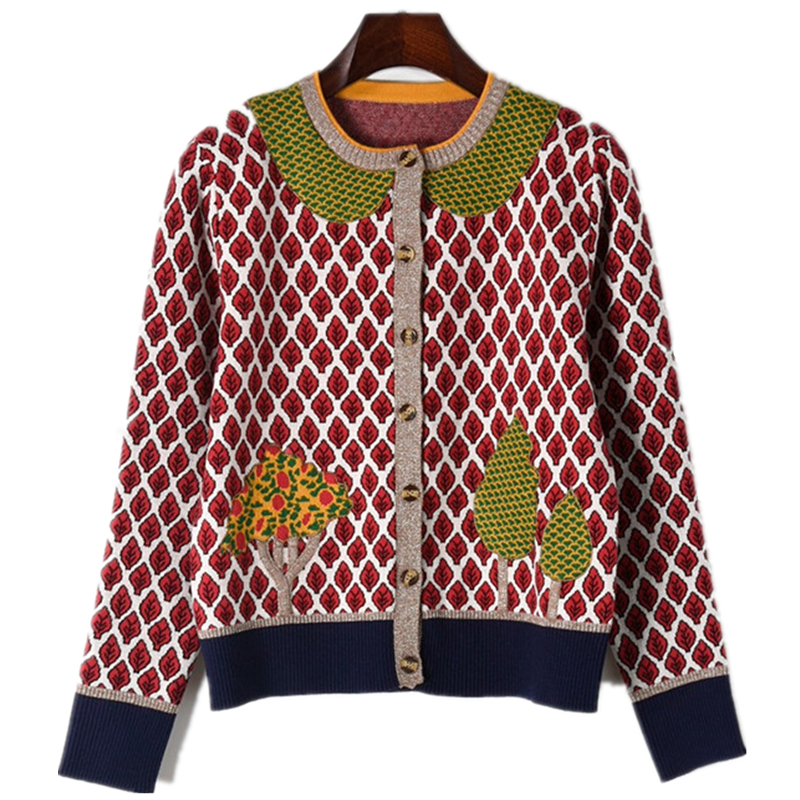 2019 Runway Cardigans Autumn Sweater For Women Luxury Designer Jacket Long Sleeve Leaves Trees Knitted Pattern Tops Female