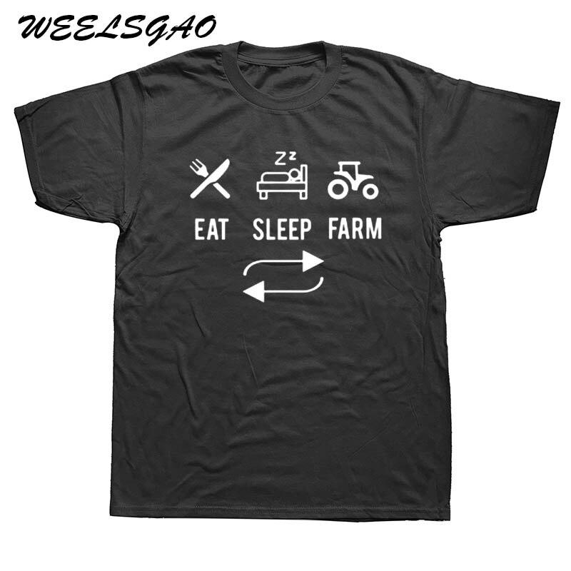 WEELSGAO Eat. Sleep. Farm. Repeat. Farming Farmers Tractor T-Shirtss Black White T Shirt Tees Top