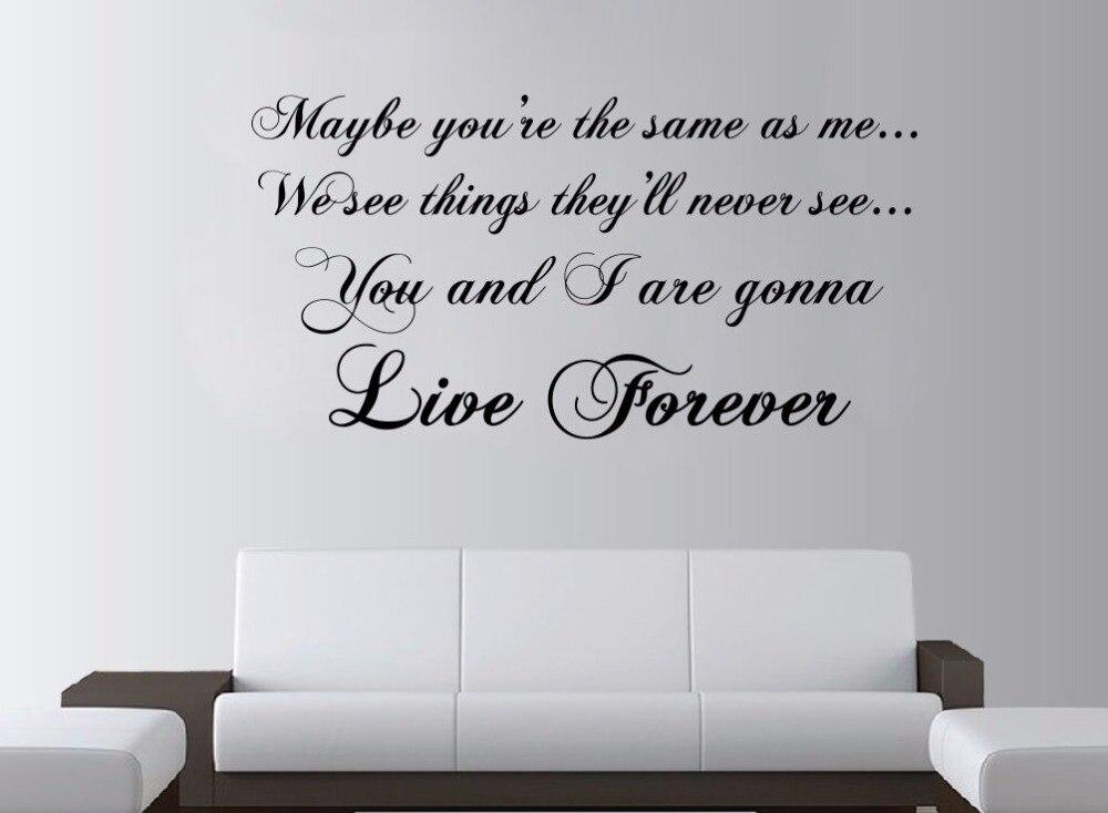 Slaapkamer Muur Quotes : Oasis live forever lyrics grote muur art rock quote lounge