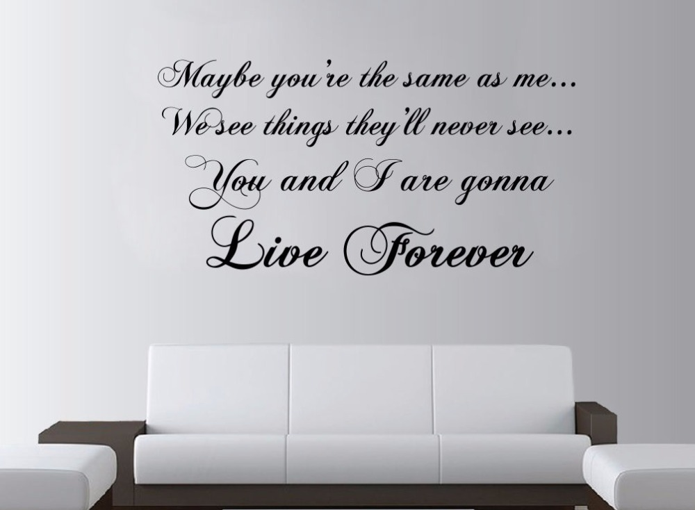 Aliexpress Com Buy Oasis Live Forever Lyrics Large Wall