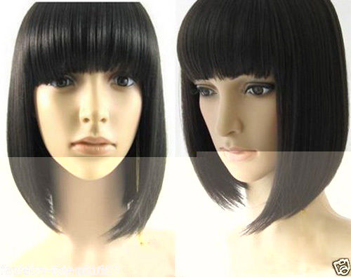 Lady Cosplay Short Black With Bang Straight Party Wig Revlon Rosa