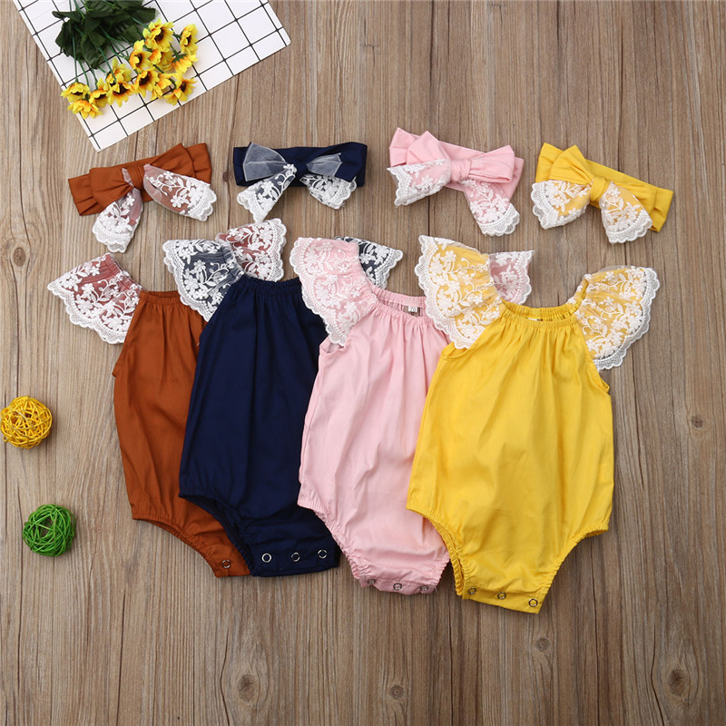 Baby Girl Clothes Baby Girl Bodysuit Kids Lace Fly Sleeve Bodysuits Clothes Baby Body Suits Headband 2PCS Outfit