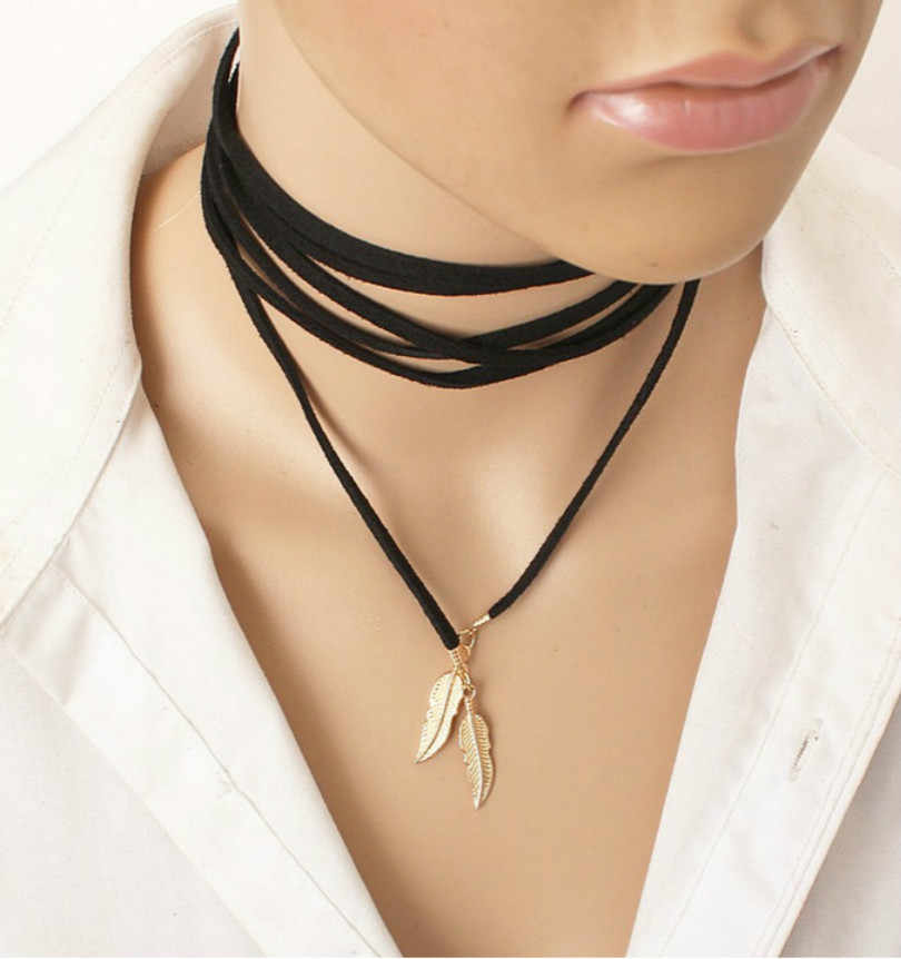 Fashion Jewelry Women's Elegant Long Rope Necklace Black Leather Punk Chain Sexy Statement Steampunk Velvet Necklace