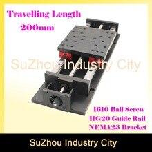 Haute Précision table coulissante voyager longueur 200mm HG 20 Linéaire Rail de guidage linéaire module de mouvement Vis À Billes 1610 pour Z axe