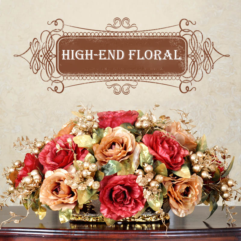 Королевский золотой бисер набор Модный с искусственными цветами набор гостиной обеденный стол украшение для дома цветок - 2