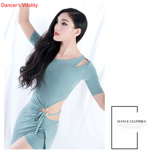 Image 4 - Wholesale Belly Dance Skirts Women Summer One Piece Oriental Dance Costume Short Sleeve Sexy Split Clothing