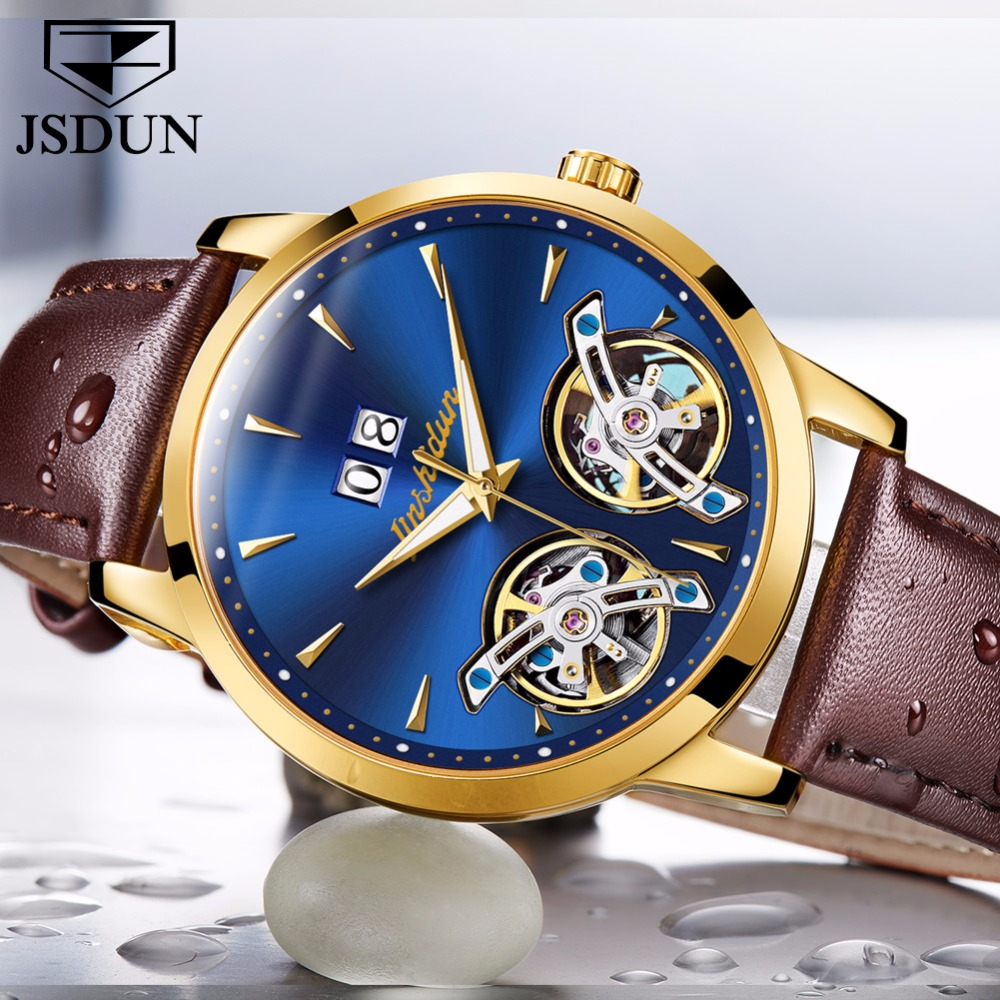 JSDUN Top Brand Luxury Watch font b Men b font Automatic Mechanical watches Double hollow Skeleton