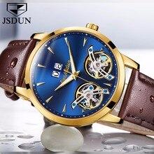JSDUN Лидирующий бренд роскошные часы Для мужчин автоматические механические часы двойной полый Скелет Натуральная кожа часы relogio masculino Новый