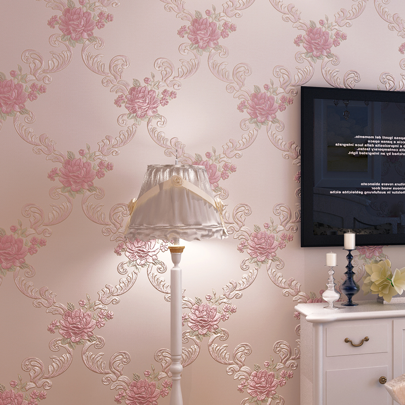 купить European Style Pastoral Floral Wallpaper For Walls Bedroom Living Room Home Decor Embossed Pink Purple 3D Flower Wall Paper Roll по цене 1681.13 рублей