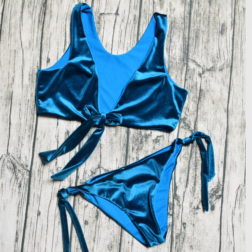 ZTVitality Swimsuit 2018 New Arrival Low Cut Bowtie Velvet Blue Bikinis Women Lace Up Bikini Low Waist Sexy Swimwear Women S-XL michael kors new navy blue women s size xs studded hi low crewneck sweater $130