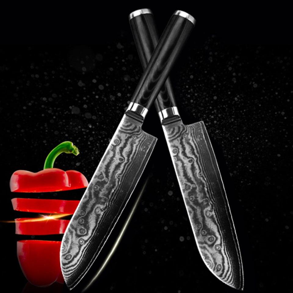 FINDKING Новый дамасский нож 7 дюймов Нож шеф повара 67 слоев Дамасская сталь кухонные ножи кухонная утварь
