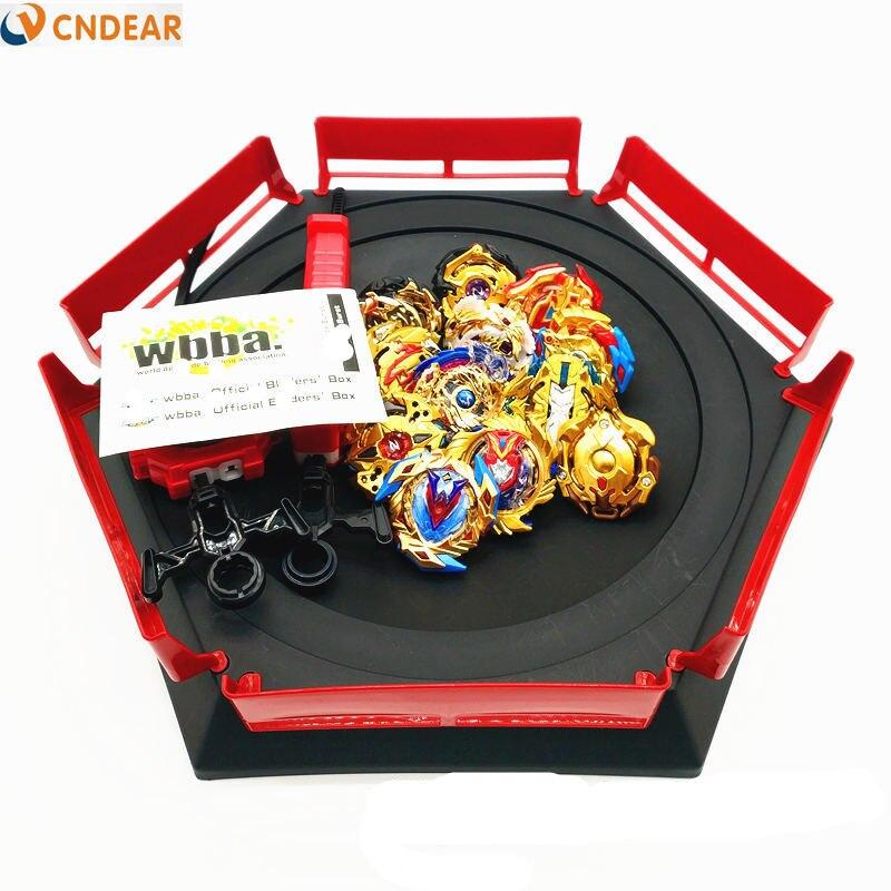 Style doré spin top rafale lame jouet métal Funsion avec poignée lanceur boîte en plastique jouets pour enfants jouets - 5