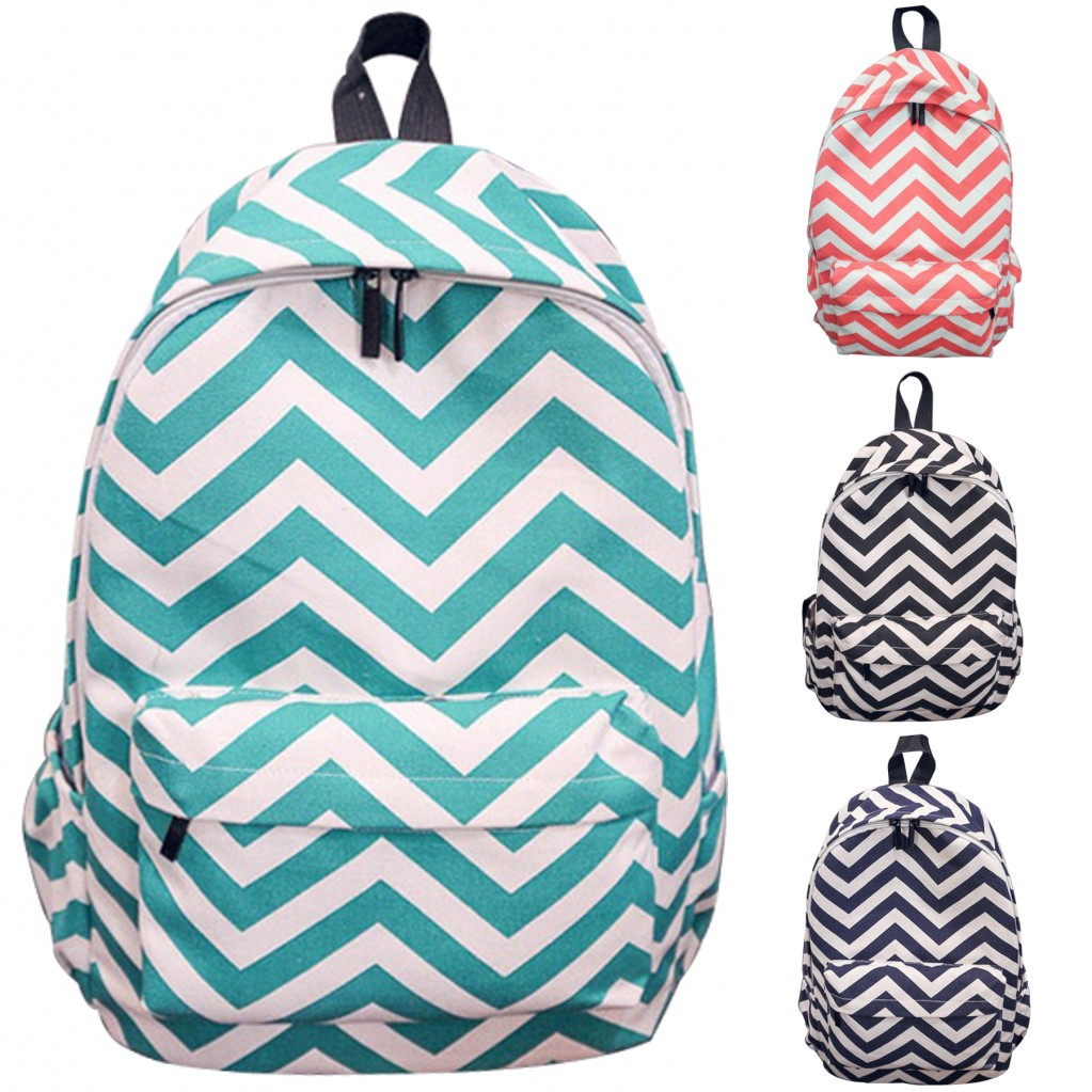 Fashion Wave Striped Print Womens Backpacks Canvas Backpack for Gilrs Travel Double-Shoulder Students Rucksacks(Navy blue)