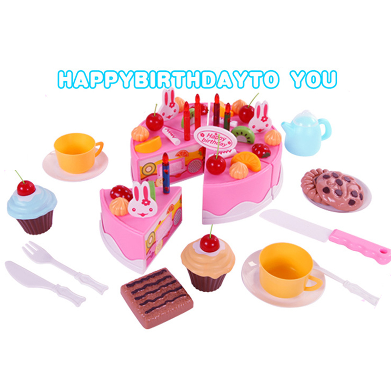 38 75pcs diy pretend play fruit cutting birthday cake - Cocina juguete aliexpress ...