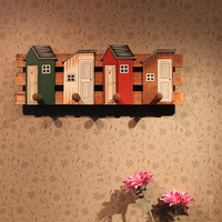 Free Shipping! Wooden Vintage Style 4 Hook Colorful House Wall Hanger Cloth & Coat Hanger Wall Decoration Hook Hot Selling!