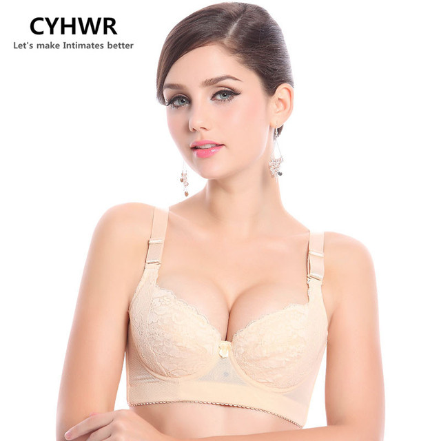 CYHWR Plus size push up bra sexy lace bra cotton intimate brassiere thin cup bra skin black color