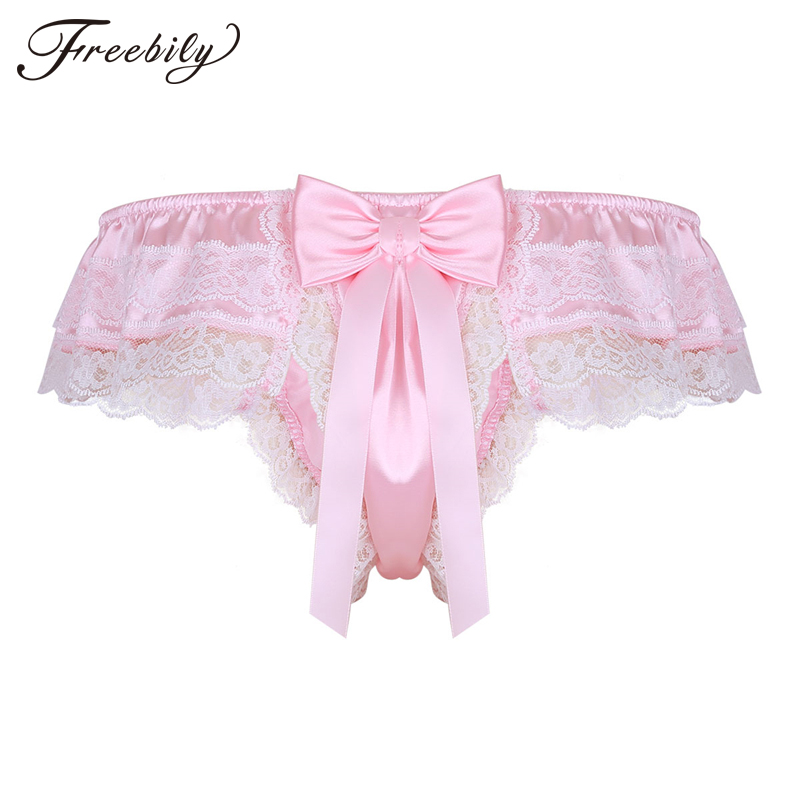Mens Underwear Sissy Jockstraps Shiny Satin Lingerie Layers Floral Lace Back with Big Bowknot <font><b>Bikini</b></font> Thongs String <font><b>Homme</b></font> Panties image