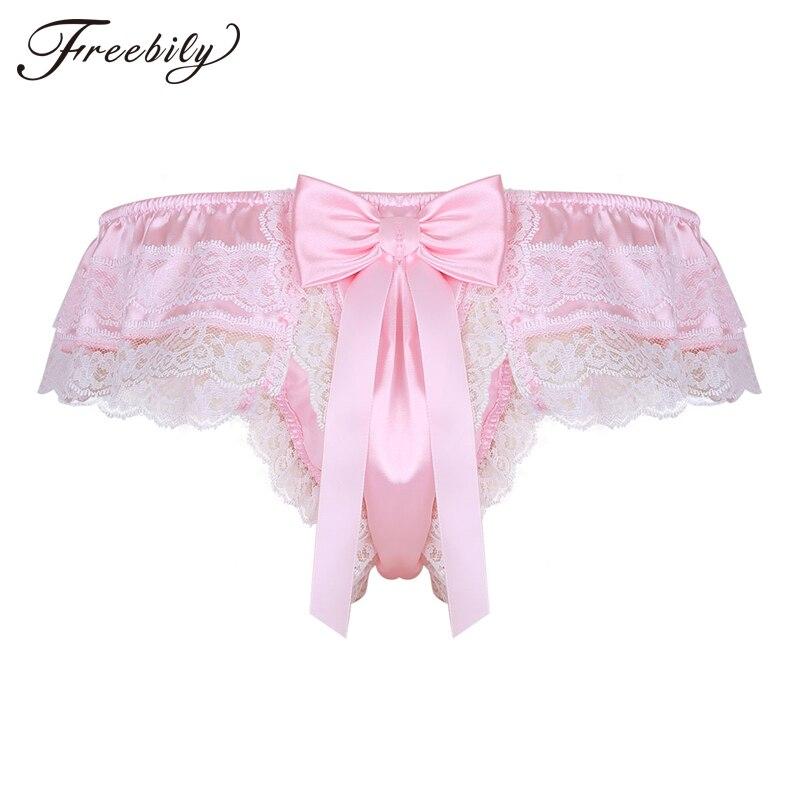 Sous-vêtements pour hommes Sissy jockstrap brillant Satin Lingerie couches Floral dentelle dos avec grand Bowknot Bikini tongs String Homme culotte