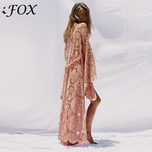 Lace Cardigan Loose Blouse Vintage Kimono Flare-Sleeve Women Dress Bohemian Floral See-Through