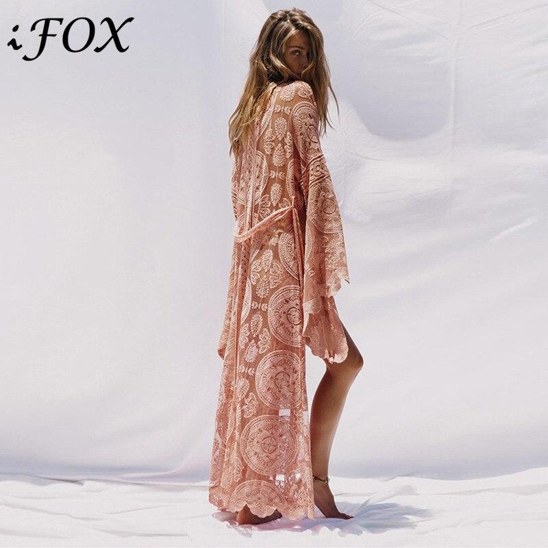 Vintage Kimono dentelle Cardigan femmes Flare manches Floral voir à travers lâche Blouse bohème Maxi longue plage chemise de grande taille