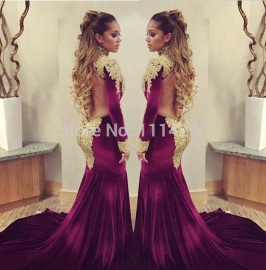ae6ead43d78 Velvet evening dresses 2015 Sexy turtleneck long-sleeved beaded gold  appliques Rhinestones Glitz Sheer back Prom gowns