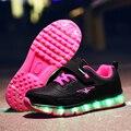 Re 'd розовый USB новая зарядка корзина Led детская обувь с подсветкой детские повседневные светящиеся кроссовки для мальчиков и девочек светящ...
