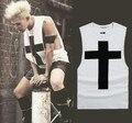 Новые приходят мужчины крест печать сплошной цвет свободно жилет GD криво м . в . же стиль одежды без рукавов