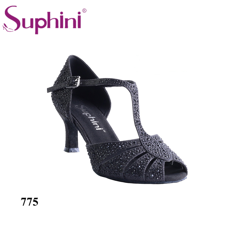 Free Shipping Suphini Safe Stable Dance Shoes Practice Heel Latin Salsa Dance Shoes Glitter Rhinestone Latin Salsa Shoes free shipping suphini customized salsa dance shoes special lady ballroom latin dance shoes