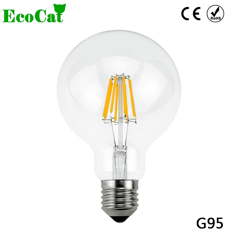 ECO CAT 2017 New design G95 LED Edison Led Bulb Filament Light ball Class Crystal candle Light Lamp 220V 4W 6W 8W for Chandelier
