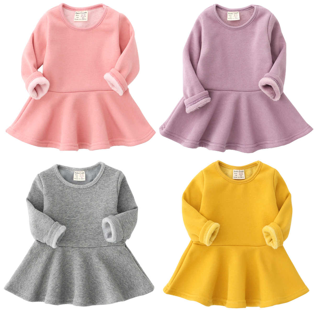 9da07f8a4c425 Baby Dresses For Girls Autumn Winter Long Sleeved Knit princess dress Lotus  Leaf Collar Pocket Doll Dress Girls Baby Clothing