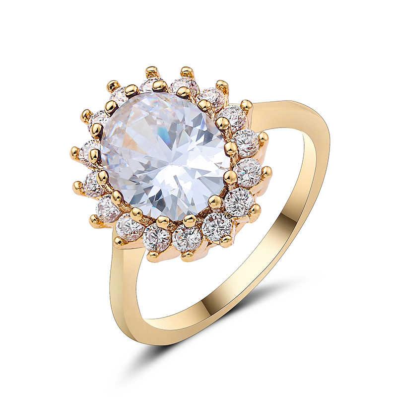 יוקרה 3.5 ct גדול סגלגל לחתוך AAA זירקון טבעת עם מיקרו סלול CZ טבעת לנשים תכשיטים נקבה טבעות 10 סוגים פרח טבעת