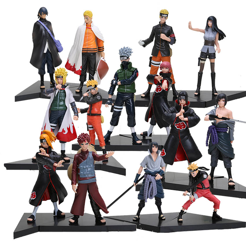 2pcs/set Anime Naruto Hatake Kakashi Sasori Deidara Gaara Hyuuga Hinata Uchiha Sasuke PVC Figures Collectible Model Toys free shipping japanese anime naruto hatake kakashi pvc action figure model toys dolls 9 22cm 013